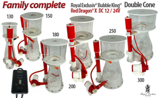 Royal Exclusiv Bubble King Double Cone skimmers with Red Dragon X pump